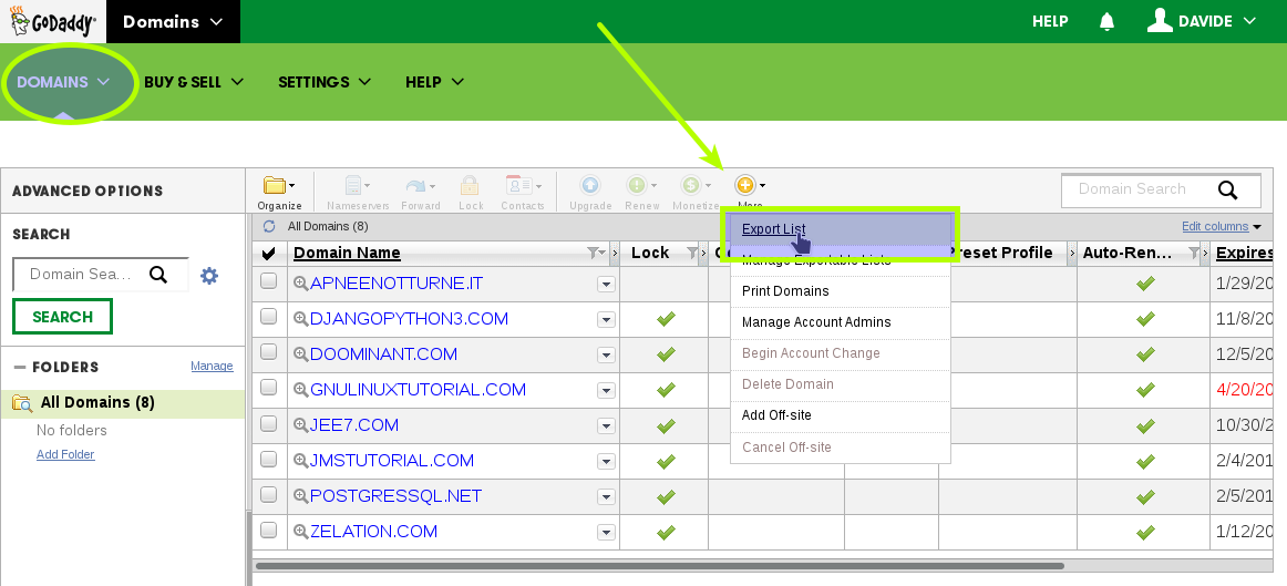 How-to Get godaddy Domain Authorization-Code - Export List