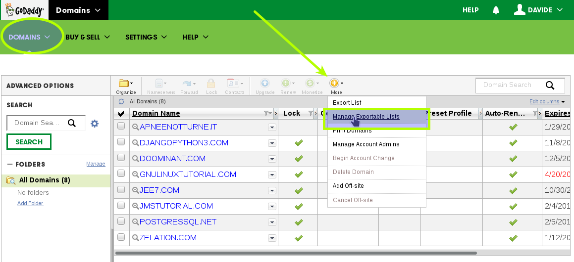 How-to Get godaddy Domain Authorization-Code - Manage Exportable Lists