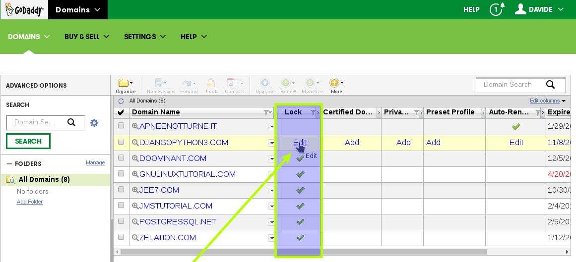 How-to Get godaddy Domain Authorization-Code - Edit Lock