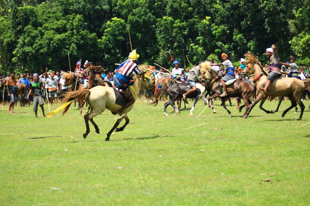 Tradisi pasola merupakan ritual tua tentang pahlawan berkuda dengan senjata tombak.