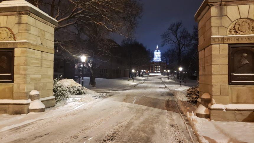 MU campus in snow