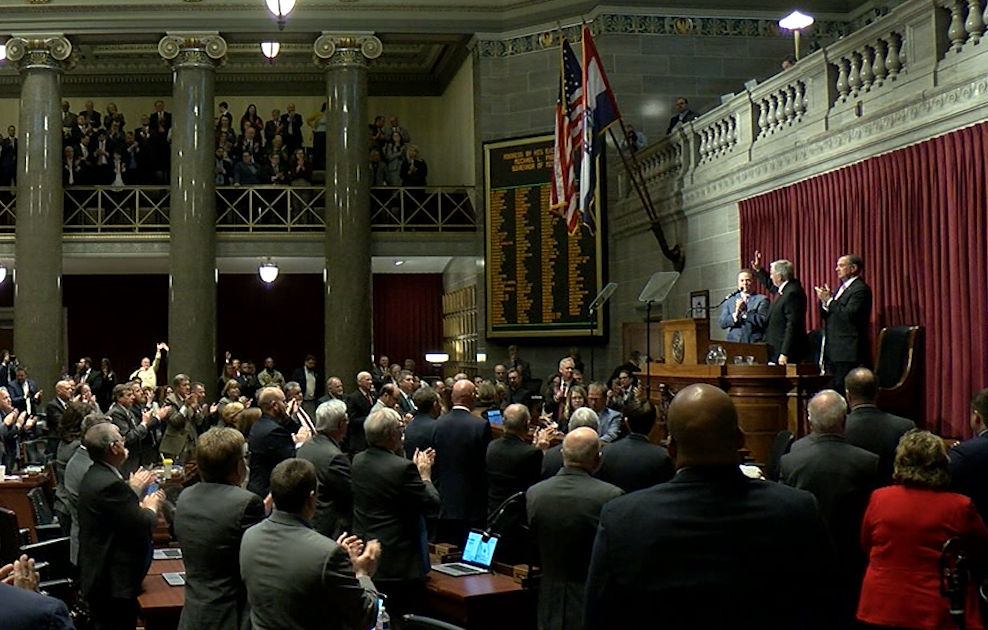 Gov. Mike Parson delivers the State of the State address in the Missouri House Chambers.
