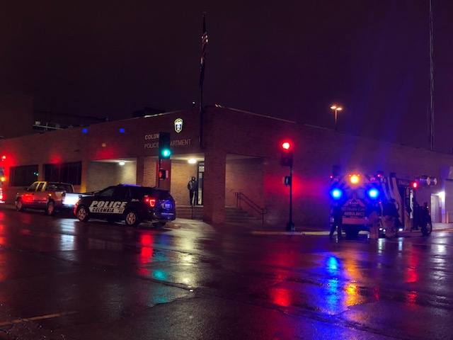 Outside of the Columbia Police Department as authorities investigated an overnight assault on Monday, February 24, 2020.