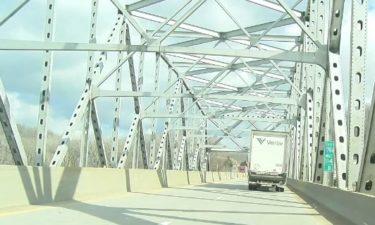 The Missouri River bridge often gets slick in winter weather.
