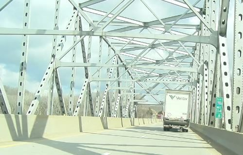 The Missouri River bridge often gets slick in winter weather.