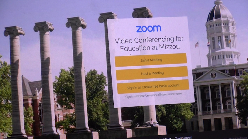 A screenshot of Zoom, a program universities are using for online classes.