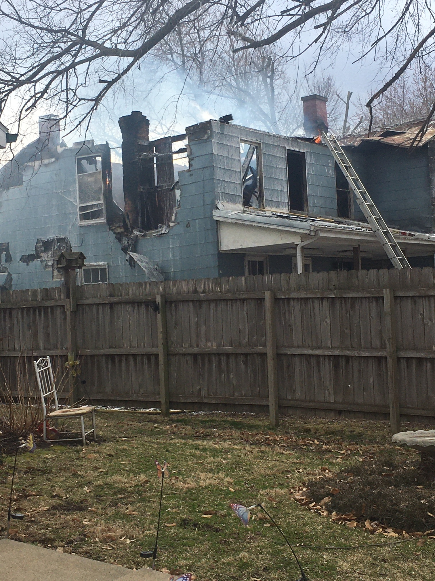 A fire destroys a home in California, Missouri.