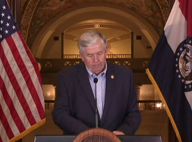 Gov. Mike Parson holds a press briefing on Friday regarding COVID-19.