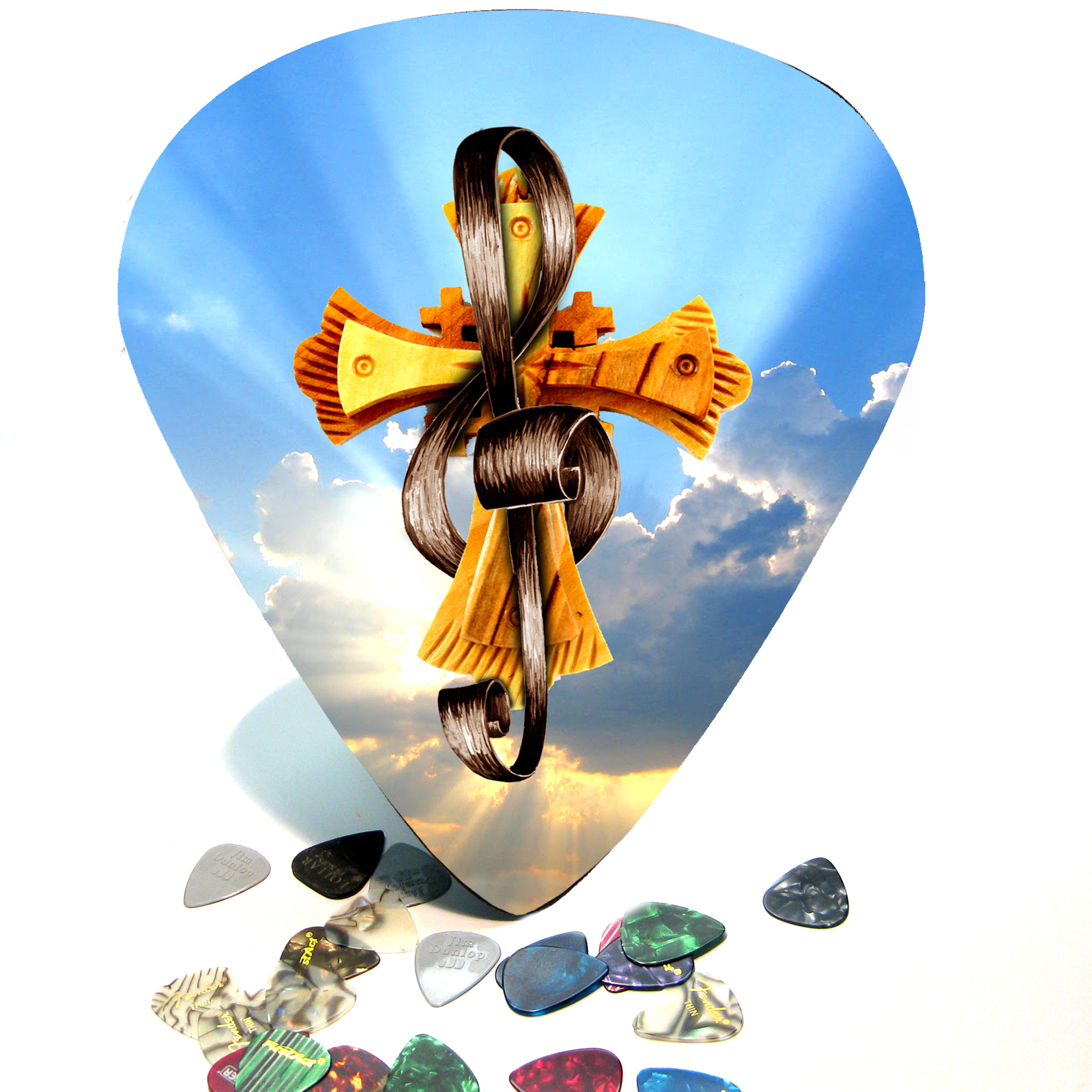 Christian Cross / Treble Clef Giant Guitar Pick Wall Art  - 1106