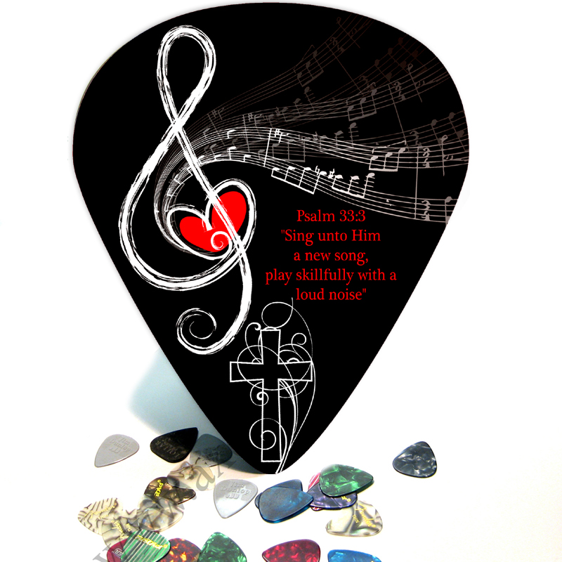 Christian Music Psalm 33 - 3 Guitar Giant Pick Wall Art - 1129