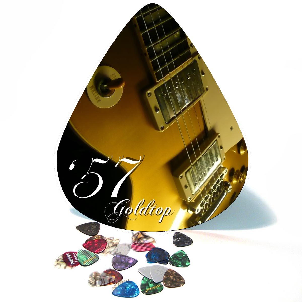 Vintage 57 Les Paul Goldtop Giant Guitar Pick Wall Art  - 1111