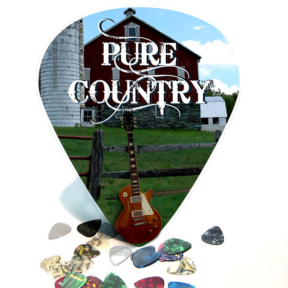 Pure Country Les Paul Giant Guitar Pick Wall Art -  1110