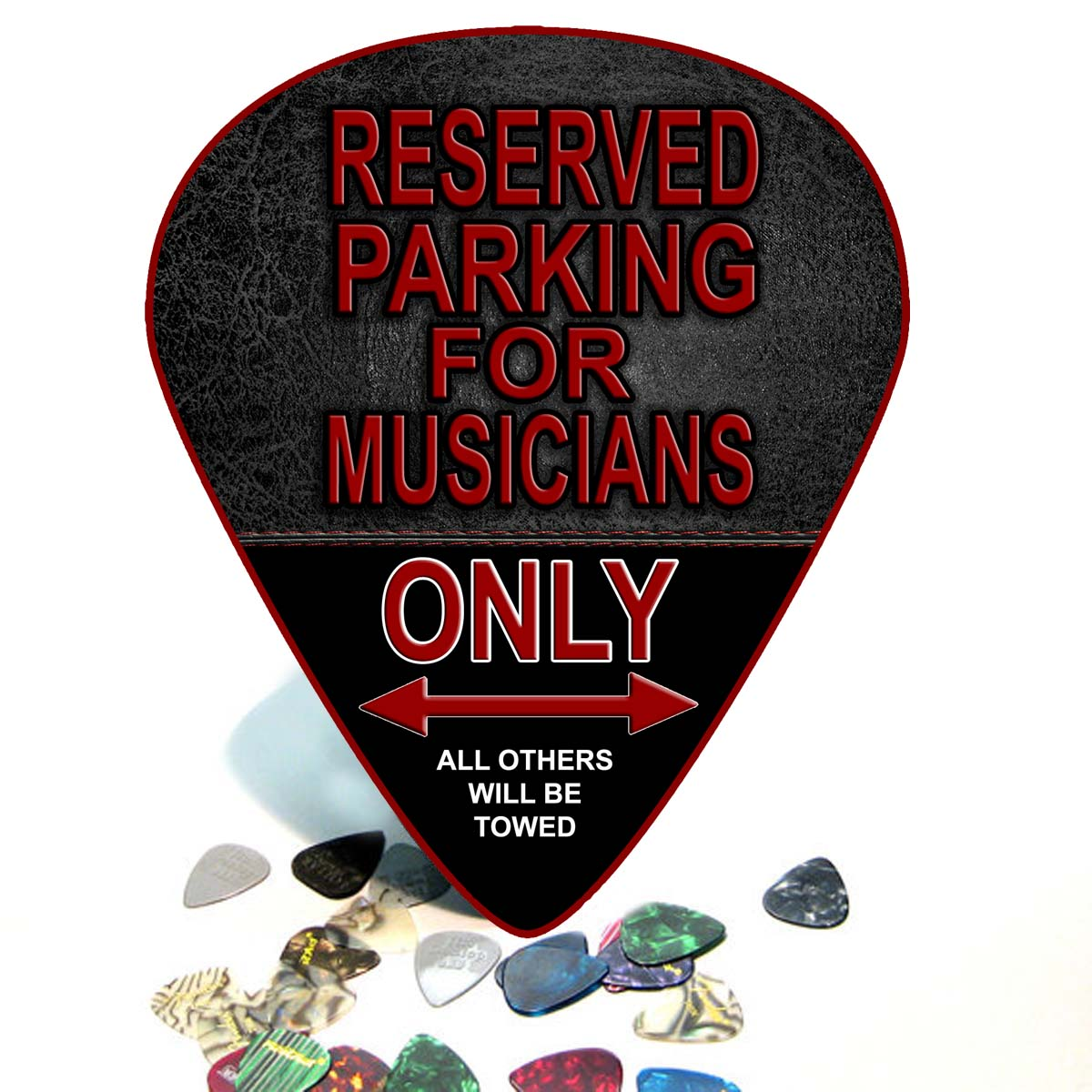 No Parking Guitar Giant Pick Wall Art  - 1126