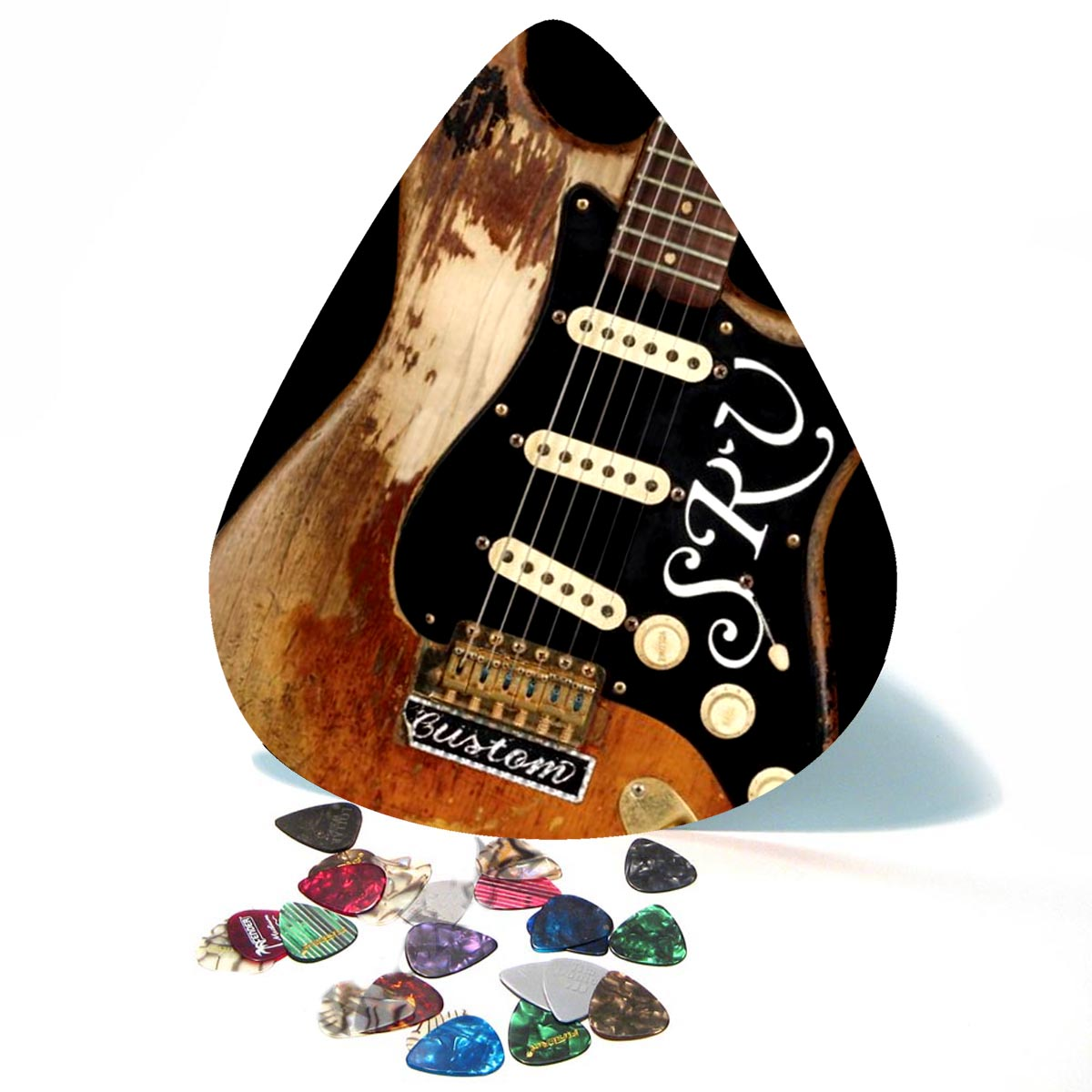 SRV Number One Stratocaster Guitar Giant Pick Wall Art  - 1124