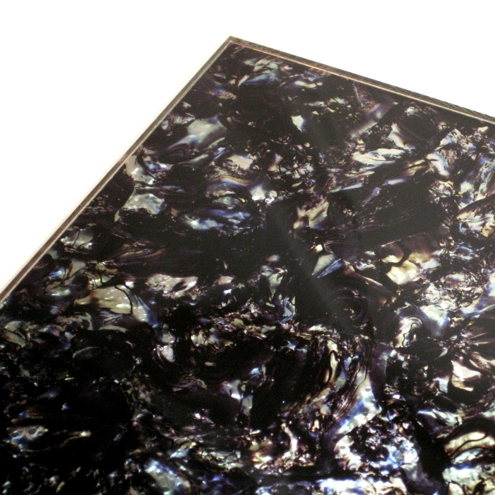 Faux Black / Silver Abalone 2-ply Pickguard Sheet Stock / Blank