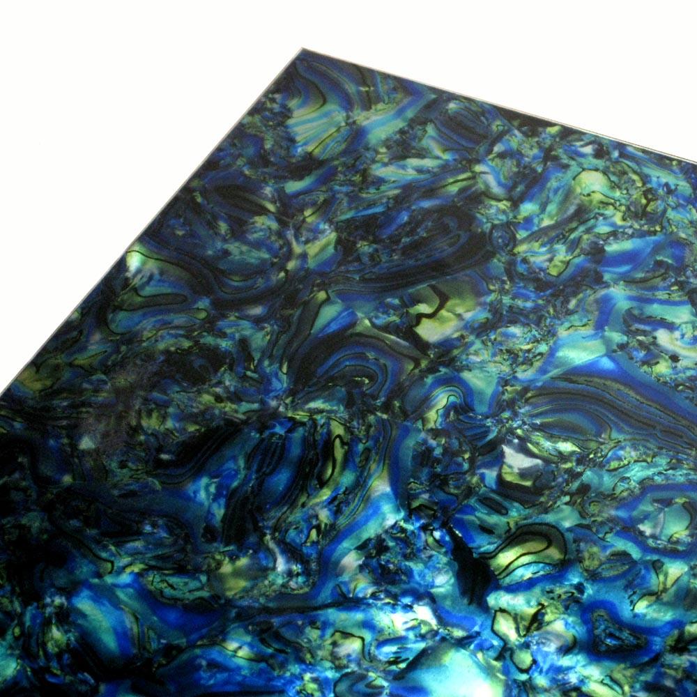 Blue / Green Abalone 2-ply Pickguard Sheet Stock