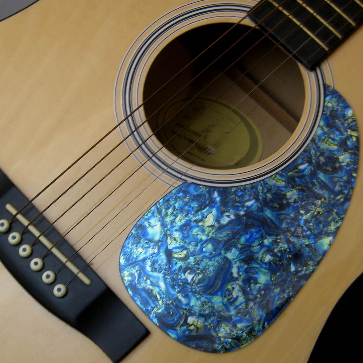 Acoustic Custom Pickguard - Iridescent Blue Abalone