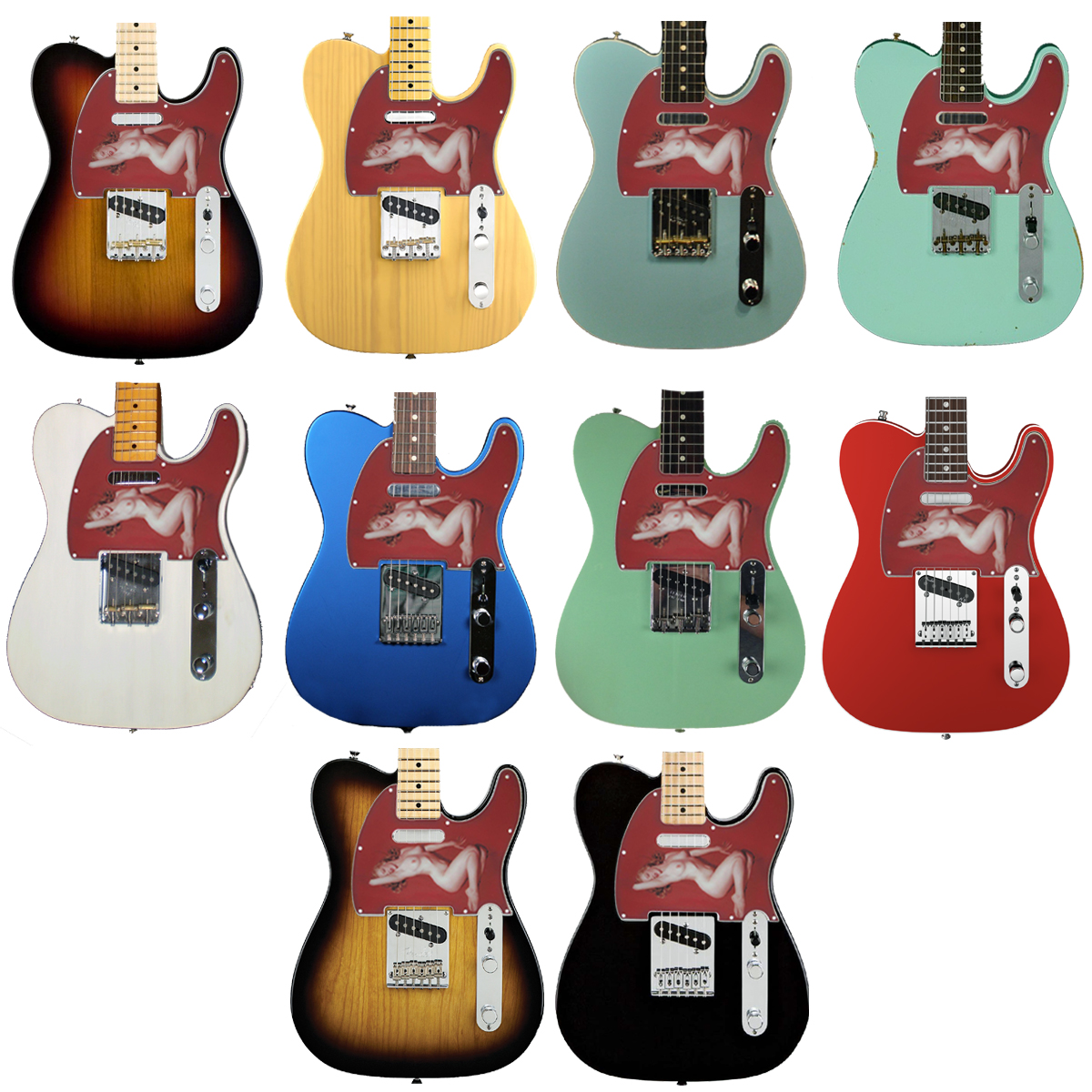 Telecaster Pinup /  Monroe Pickguard - 2-ply - 119- SPECIAL ORDER 7 BUSINESS DAYS