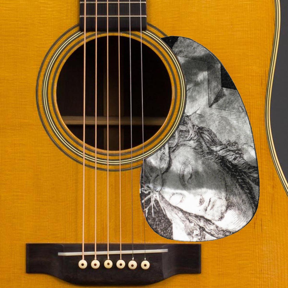 Iridescent Acoustic Custom Pickguard - Christian - Engraved Look Jesus- SPECIAL ORDER