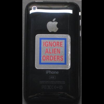 IPhone / IPod 1.5inch Joe Strummer IGNORE ALIEN ORDERS Replica Decal
