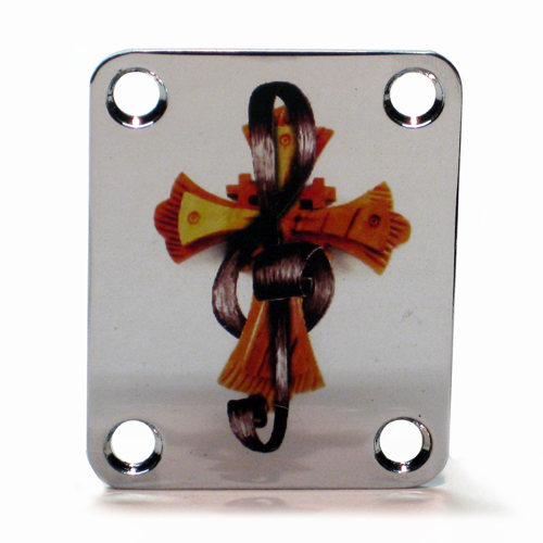 Custom Shop Neckplate  Christian Cross Treble Clef -Fits Strat /Tele / Bass - 116- SPECIAL ORDER