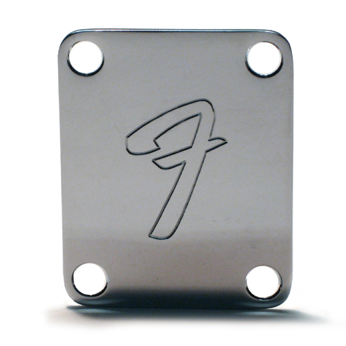 Fender 70s F Chrome Neckplate / Screws - STAMPED or AGED Options