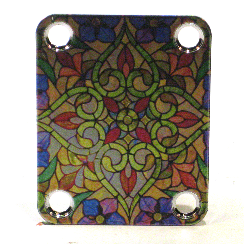Custom Shop COLOR Neckplate Stained Glass Look -Fits Strat /Tele / Bass - 106