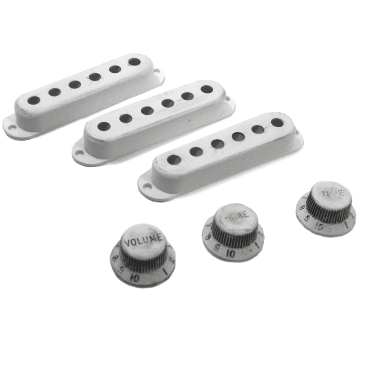 Relic Stratocaster Knobs / Pickup Covers - WHITE