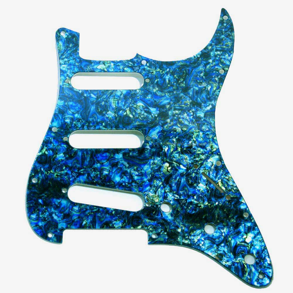 Stratocaster  Pickguard - Blue / Green Faux Abalone - 2-Ply