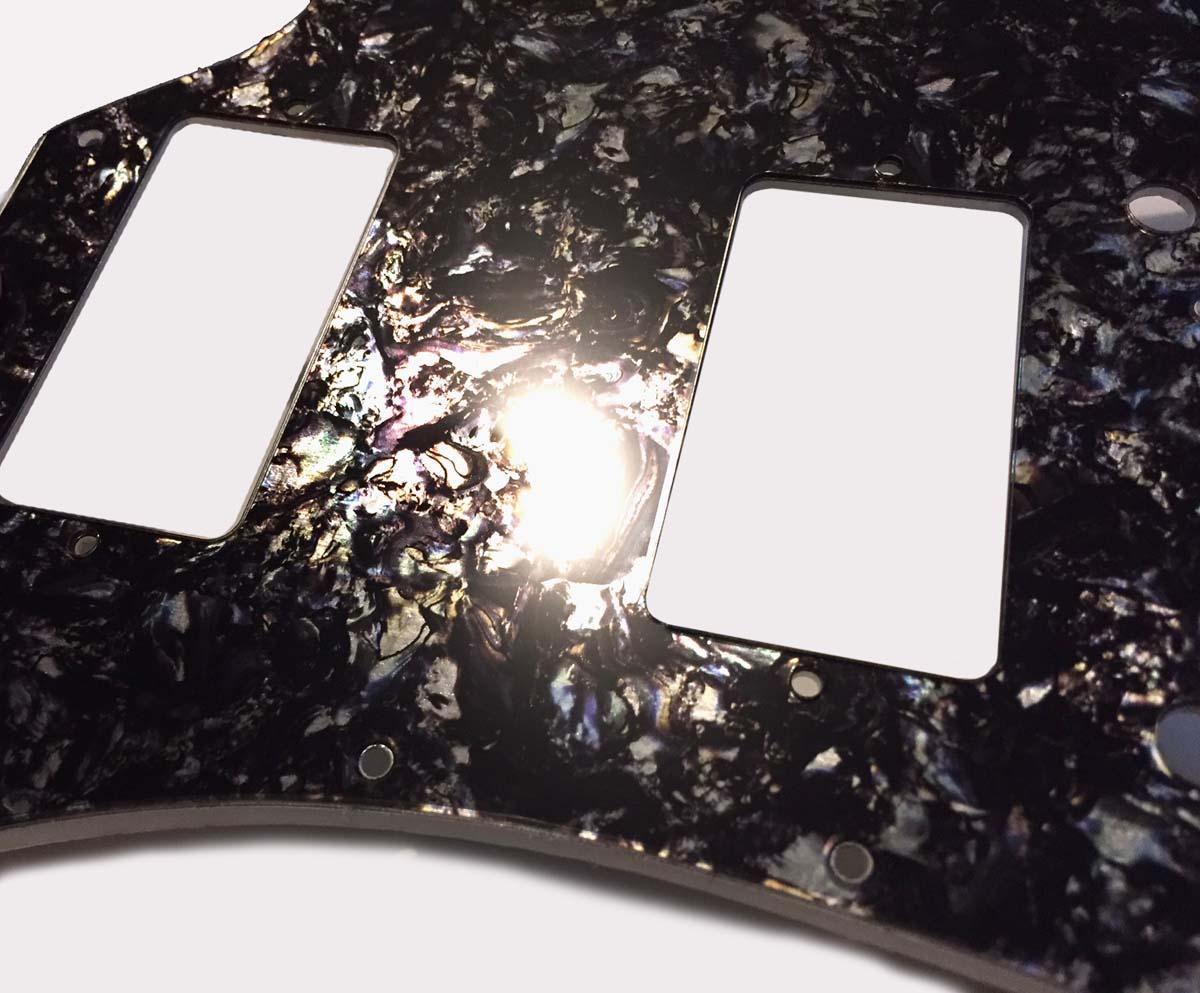 SG 2-ply Pickguard - Black / Silver Faux Abalone - 2-ply