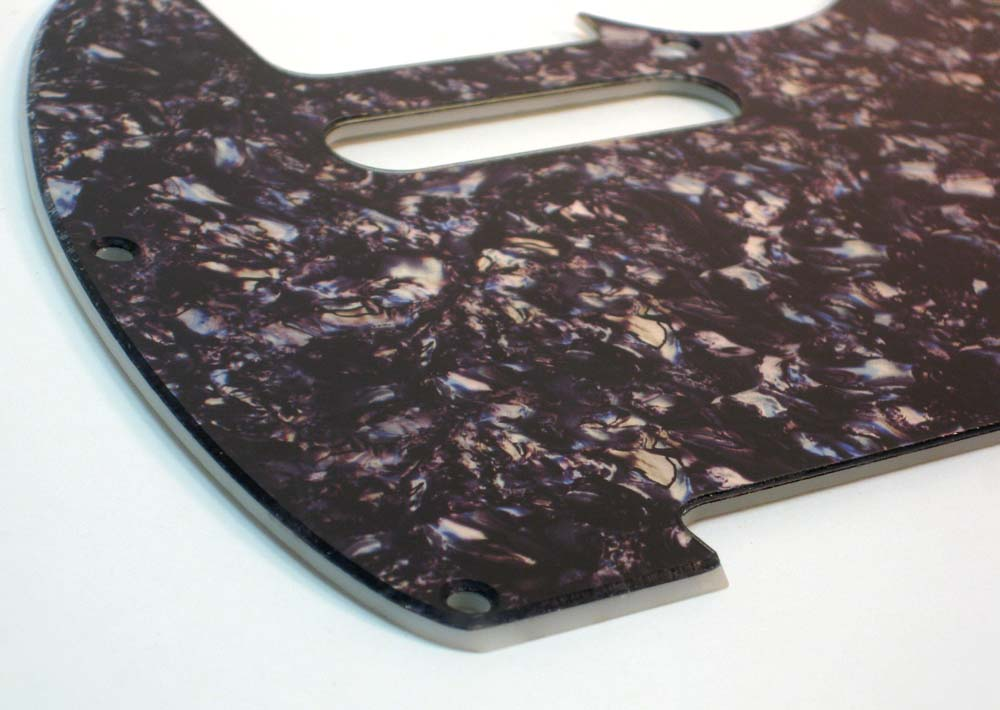 Telecaster Pickguard - Black / Silver Faux Abalone - 2-Ply