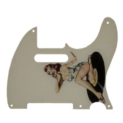 Vintage pinup girl on record telecaster pickguard 5 HOLE