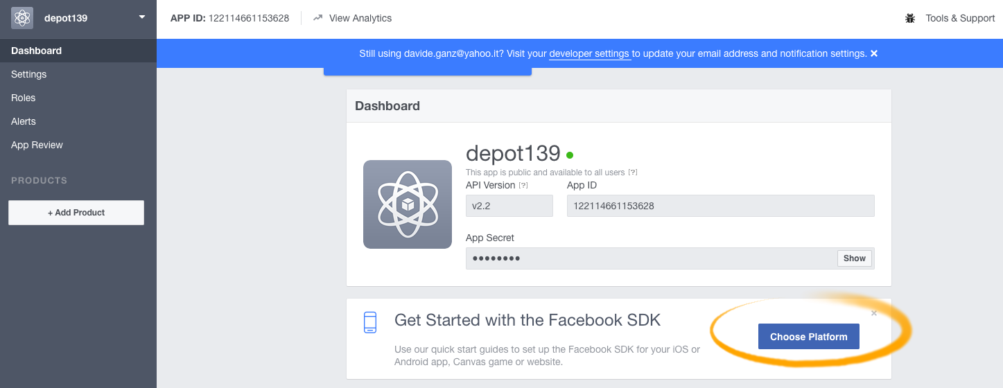 How-to Enable Facebook Login oAuth for a Web Site - choose platform