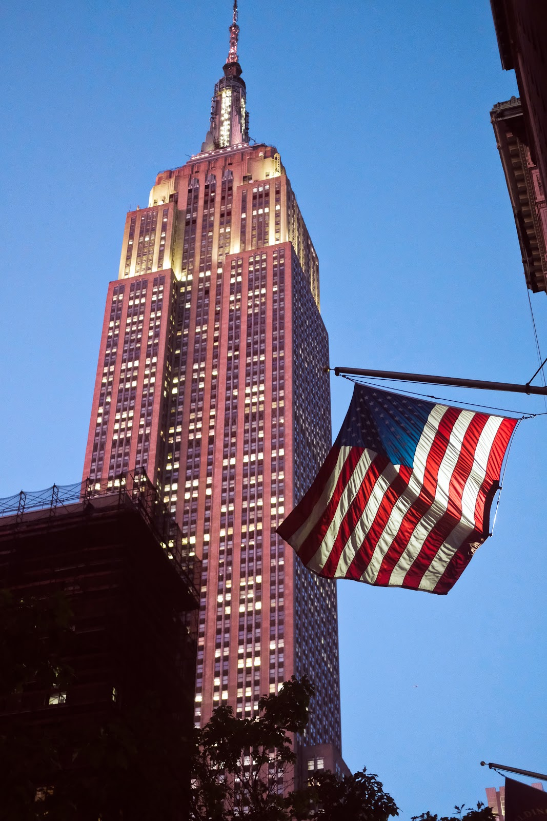 Empire State Building and American flag photo