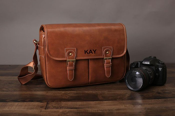 Personalized Leather Camera Bag
