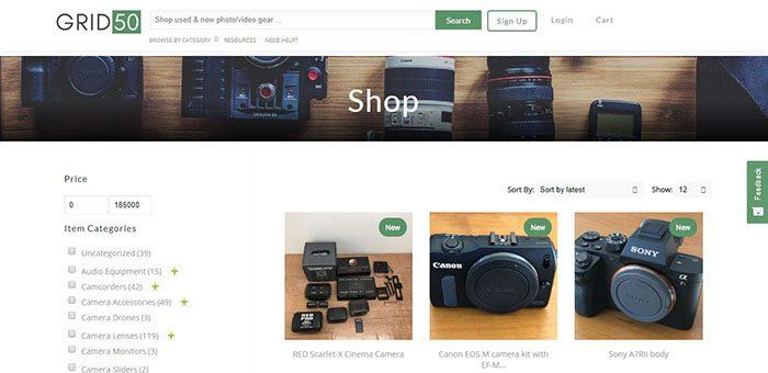 Grid50 Shop Page Screenshot