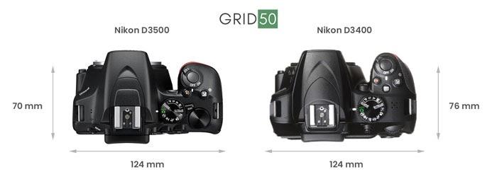 nikon d3500 vs d3400 dimensions