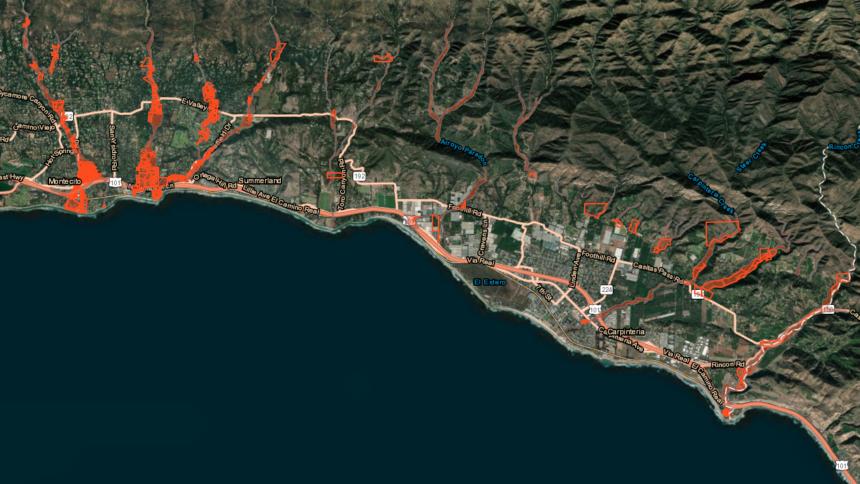 santa barbara debris flow map