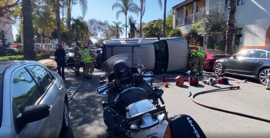 Rollover accident six car crash