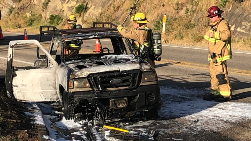 Santa Barbara County fully engulfed car fire