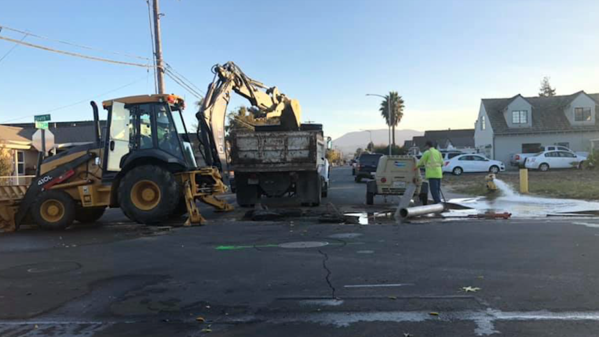 hollister water main break line street