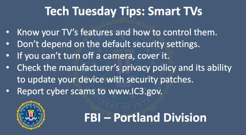 Oregon FBI Tech Tuesday smart TVs