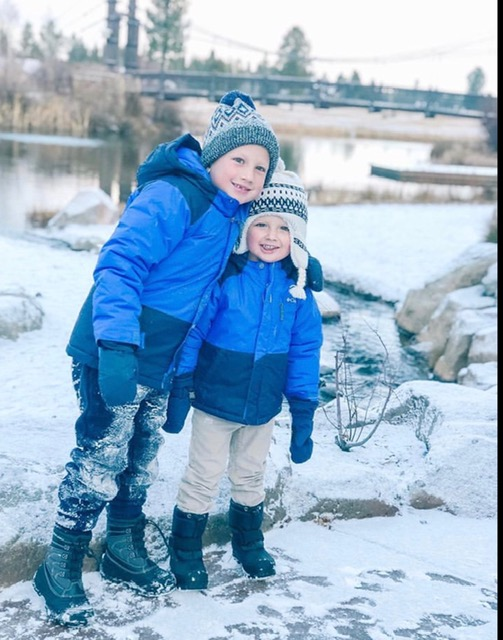 Grandkids wake up to snow Sunriver Collette Vale