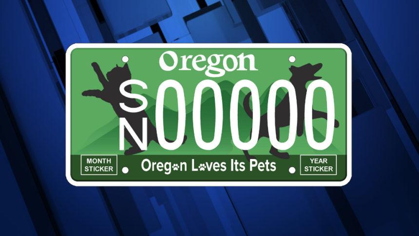 Oregon loves pets license plate