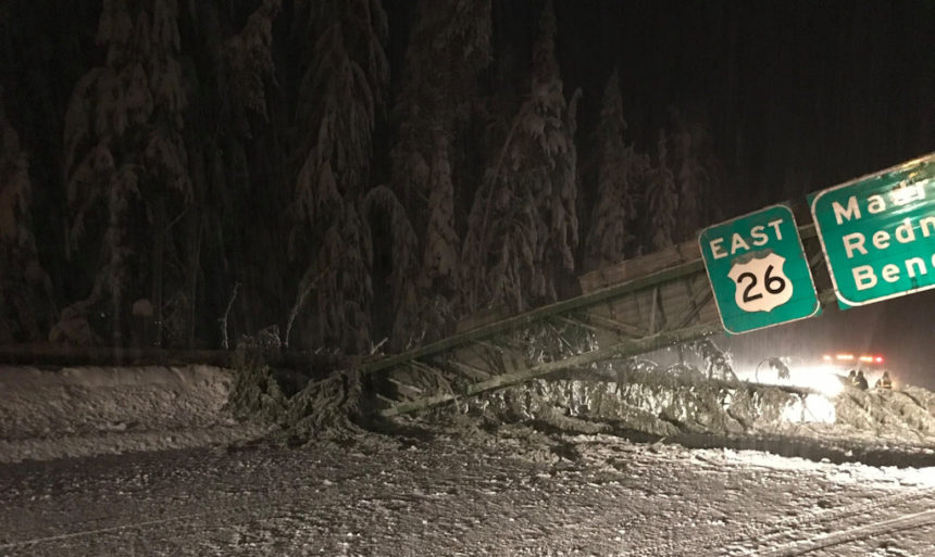 Hwy. 26 fallen sign bridge 1-12-2