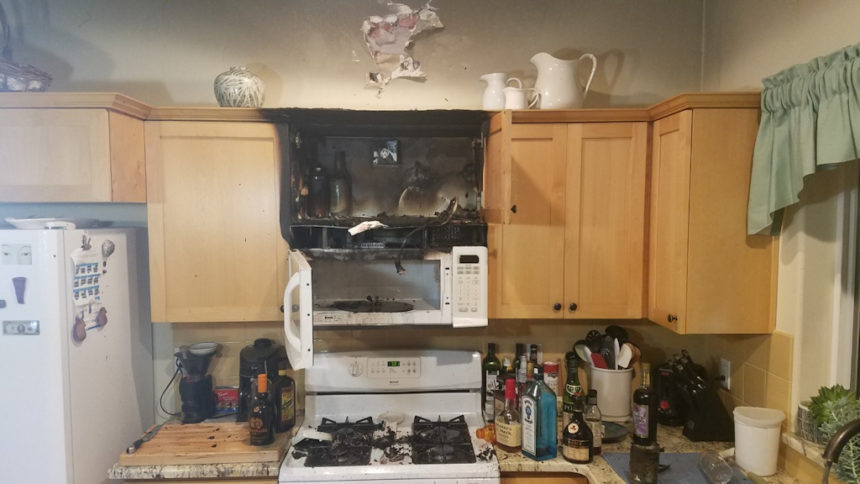 Mariner Drive kitchen microwave fire 1-30
