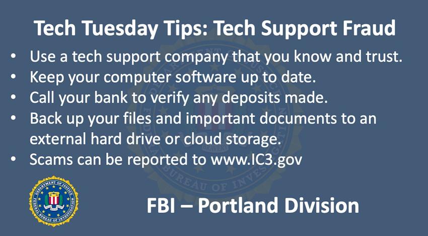 Oregon FBI Tech Tuesday tech support fraud 1-7