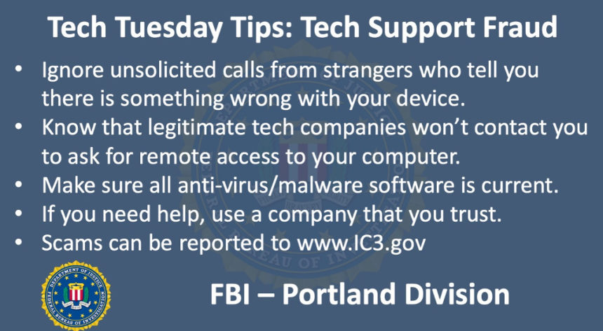 Oregon FBI Tech Tuesday tech support fraud