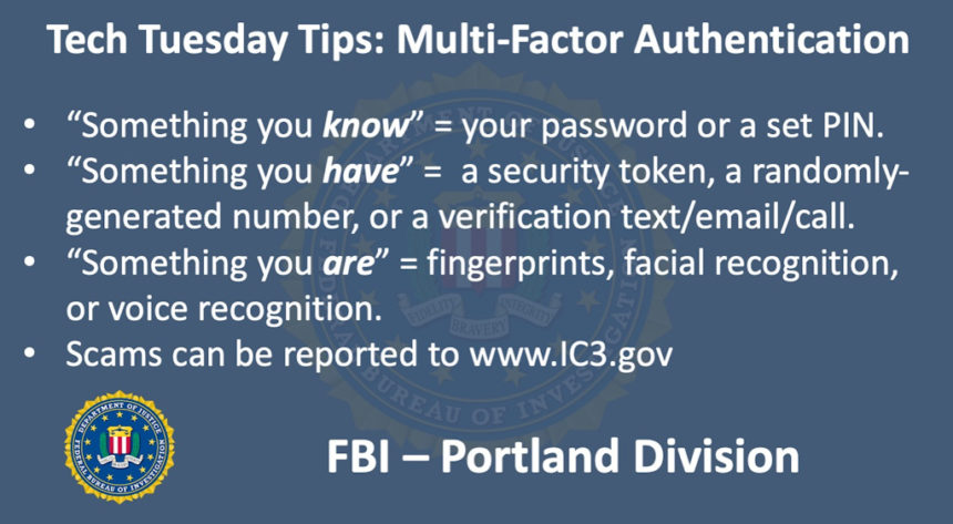 Oregon FBI Tech Tuesday two-factor authentication
