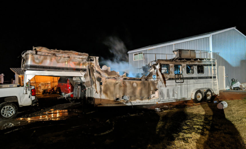 Crooked River Ranch horse trailer fire 224